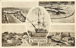 5 insets, SEA FRONT and FLORAL CLOCK and H.M.S. VICTORY and ROCK GARDENS and SOUTH PARADE PIER