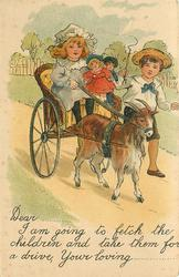 vignette of goat cart, girl on cart with two small children, boy next to the goat, whip in right hand