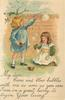 vignette of two girls blowing bubbles, girl right on her knees