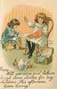 vignette of two girls and two dolls, girl left cutting material with scissors, other right sewing