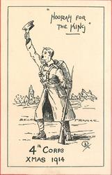 """HOORAH FOR THE KING"" soldier stands waving his cap between BELGIUM & FRANCE"