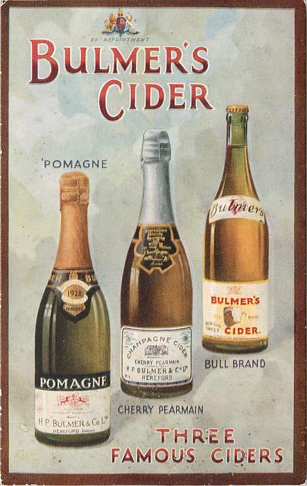 THREE FAMOUS CIDERS POMAGNE  CHERRY PEARMAIN  BULL BRAND