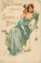 NEW SEASONS DESIGNS FOR SCARFS & BOWS, seated girl in blue, many ornaments
