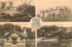 central crest & motto in latin, 4 insets OLD DUNDAS CASTLE/DUNDAS CASTLE/BOAT HOUSE DUNDAS/THE LOCH DUNDAS