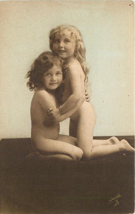 two nude children, left one is sitting, right one is kneeling, both look forward
