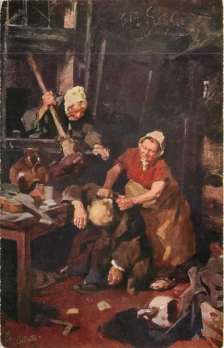 two women & drunken man