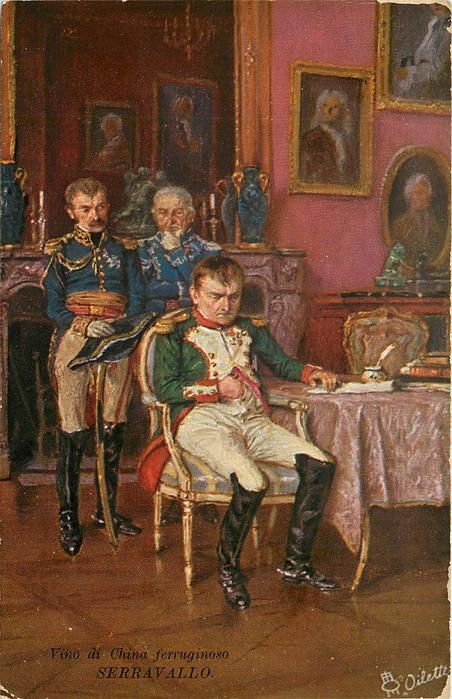 Napoleon's abdication, he sits sadly on chair by table, two Generals stand behind