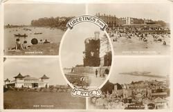 GREETINGS FROM RYDE, 5 insets  CANOE LAKE and BEACH AND ESPLANADE and APPLEY TOWER and NEW PAVILION and THE PIER, FROM PARISH CHURCH