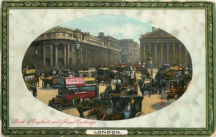BANK OF ENGLAND AND ROYAL EXCHANGE  TUCK advert on bus