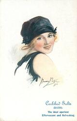 girl in black bathing costume & hat