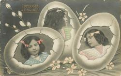 girls head & shoulders inset in three Easter eggs, pussy willows upper left