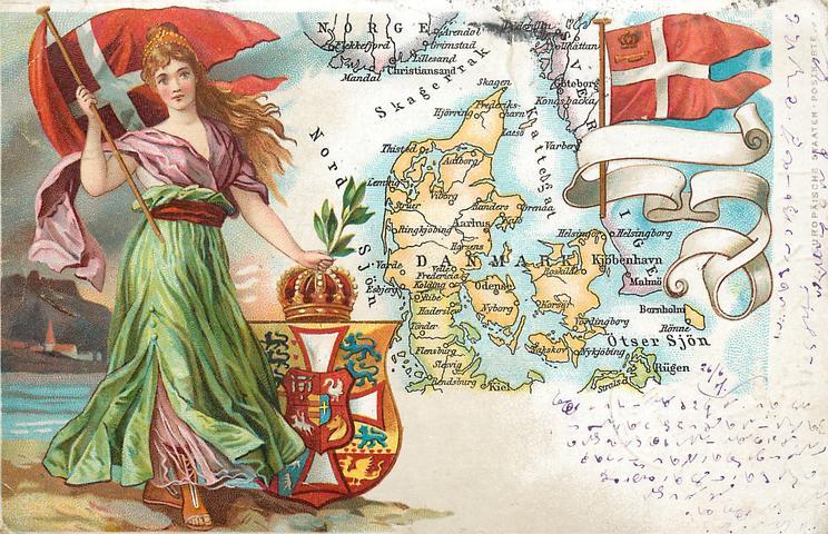 map, flag, crest & woman of Denmark
