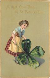 A RIGHT GOOD TIME ON ST. PATRICK'S DAY  girl with exaggerated 4 leaved clover