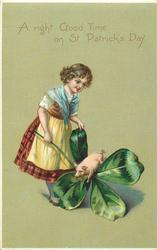 A RIGHT GOOD TIME ON ST. PATRICK'S DAY  girl with exaggerated 4 leaved clovers & pig