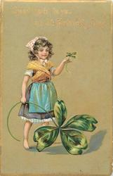 GOOD LUCK TO YOU ON ST. PATRICK'S DAY  girl with exaggerated four leaf clover (no pig)