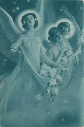 three angels, angel left carries fabric overflowing with flowers, angel right carries large feather