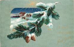 A BRIGHT AND HAPPY NEW YEAR,  inset of snowy rural scene above fir branch with cones