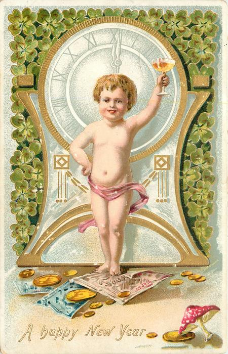 A HAPPY NEW YEAR  almost  nude boy stands in front of clock with drink in his left hand