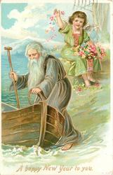 A HAPPY NEW YEAR TO YOU  old man with beard about to enter boat, angel behind throws flowers