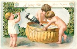 A HAPPY NEW YEAR TO YOU  two little children w/o clothes pour champagne into gold vat, another child left drinks from glass