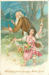 WISHING YOU A HAPPY NEW YEAR  old man with beard moves back, angel front with flowers & hourglass