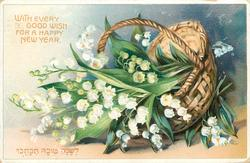 WITH EVERY GOOD WISH FOR A HAPPY NEW YEAR basket of lilies-of-the-valley