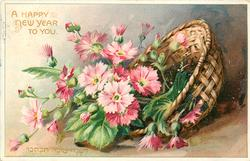 A HAPPY NEW YEAR TO YOU pink flowers with yellow centres spillingout of basket, right