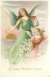 A HAPPY NEW YEAR TO YOU small angel in pink right, tall angel in green behind, sun rising