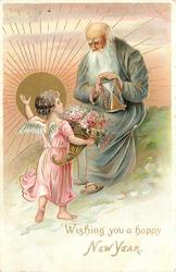 WISHING YOU A HAPPY NEW YEAR small angel in pink tells seated Father time to leave, risen sun back left