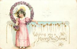 WISHING YOU A HAPPY NEW YEAR young girl in pink with wreath of violets around head holds basket, faces front