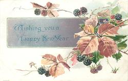 WISHING YOU A HAPPY NEW YEAR on pale purple panel behind blackberries