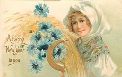 A HAPPY NEW YEAR TO YOU girl carries exaggerated blue cornflowers, barley &  gilt sickle