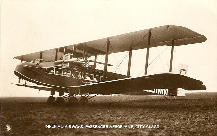 IMPERIAL AIRWAYS PASSENGER AEROPLANE, CITY CLASS  aircraft on airfield, long nose with 2 propellers, facing left, 2 blades