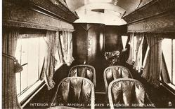 INTERIOR OF AN IMPERIAL AIRWAYS PASSENGER AEROPLANE  leather seats facing front