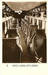 INTERIOR OF AN IMPERIAL AIRWAYS PASSENGER AEROPLANE, ACCOMMODATION, 20 PASSENGERS