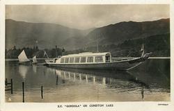 "S.Y. ""GONDOLA"" ON CONISTON LAKE  sail boat behind"