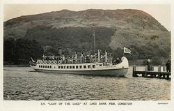 "S.Y. ""LADY OF THE LAKE"" AT LAKE BANK PIER, CONISTON"
