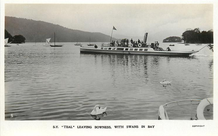 "S.Y. ""TEAL"" LEAVING BOWNESS, WITH SWANS IN BAY"