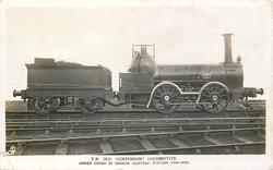 """F.R. OLD """"COPPERNOB"""" LOCOMOTIVE UNDER COVER AT BARROW (CENTRAL) STATION (1846-1899)"""