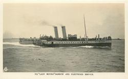 "P.S. ""LADY MOYRA""--BARROW AND FLEETWOOD SERVICE moves left to right, mid-distant view"