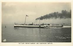 "P.S. ""LADY MOYRA""--BARROW AND FLEETWOOD SERVICE moves right to left, mid-distant view"