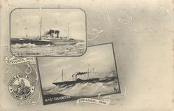 "2 insets S/S ""ANGLIA"" above STEAMER 1904 above S/S ""CAMBRIA"" above STEAMER 1848"