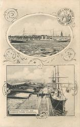 2 insets ship above Riverside Station & moored ship, title below RIVERSIDE STATION AND LANDING STAGE, LIVERPOOL