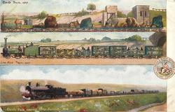 3 insets GOODS TRAIN 1837 above LIVE STOCK 1857 above GOODS TRAIN NEARING SHAP SUMMIT 1904