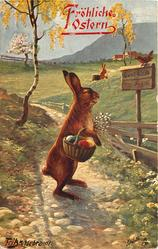 Easter bunny on path, facing and looking right, holds basket of brightly coloured eggs