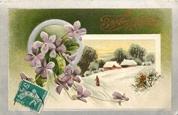 two insets in silver borders, violets, left, superimposed on rural winter scene, woman walks away on snowy path