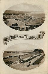 2 insets TEIGNMOUTH FROM TORQUAY ROAD, (GREETINGS FROM TEIGNMOUTH), DEN PROMENADE, TEIGNMOUTH