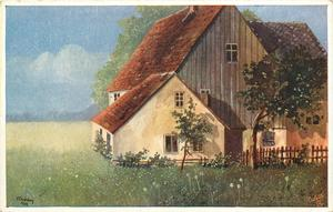 farmhouse with two trees in front