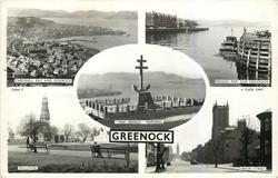 "5 insets CARDWELL BAY AND GOUROCK/PRINCES PIER AND ESPLANADE/""FREE FRENCH"" MEMORIAL//WELLPARK/UNION STREET"