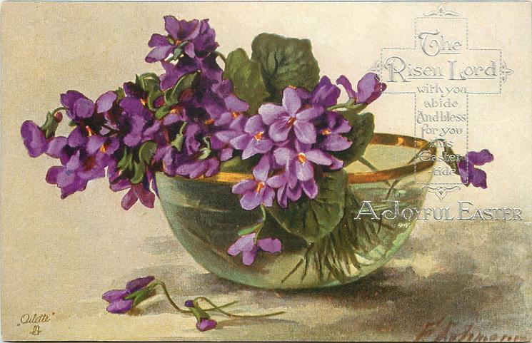 violets in gold rimmed glass bowl